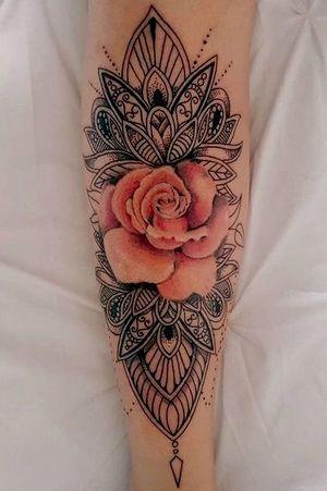 Beautiful! #flowertattoo #rose #pinkrose #mandala #forearmtattoo #mandalatattoo