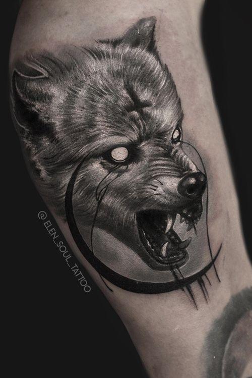#wolf #moon #cross #horror #evil #satan #blackandgray #elensoul