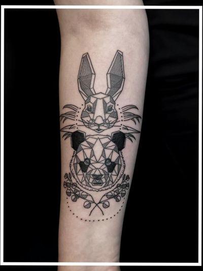 #linework #panda #rabbit #armtattoo
