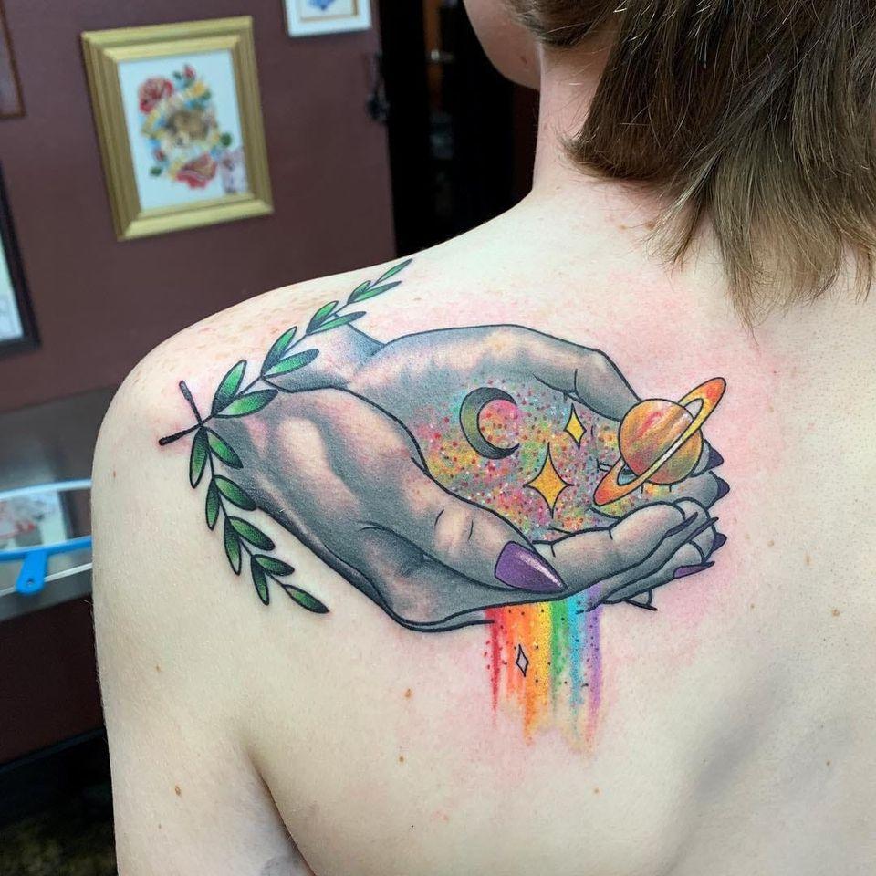 Rainbow tattoo by I am Huka #Iamhuka #rainbowtattoo #queertattoo #LGBTQIA #LGBT #queer #gay #pride #pridemonth #tattooidea #meaningfultattoo