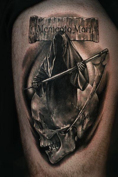 #death #deathtattoo #realism #realistic #blackandgray #horror #skull #elensoul