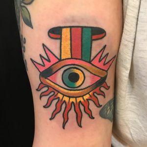 Eye tattoo by Julia Campione #JuliaCampione #eyetattoos #eyetattoo #eye #arm #color #traditional #fire #rainbow #surreal #surrealism #thirdeye