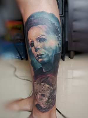 #halloween #michaelmyerstattoo #FridayThe13th #jasonvoorheestattoo #horrortattoo #horror #horrorrealism