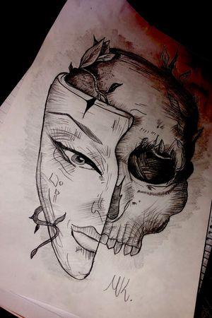 my own plan❗️🖋 #tattoodesing #blackandgray #skulltattoo #maskoff #mywork
