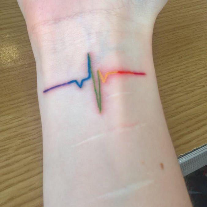 Rainbow tattoo by unknown tattoo artist #rainbowtattoo #queertattoo #LGBTQIA #LGBT #queer #gay #pride #pridemonth #tattooidea #meaningfultattoo