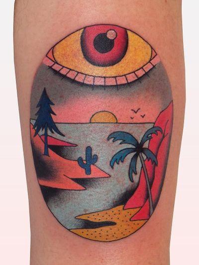 Eye tattoo by Brindi #Brindi #eyetattoos #eyetattoo #eye #landscape #mountain #palmtree #cactus #thirdeye #color #illustrative #arm