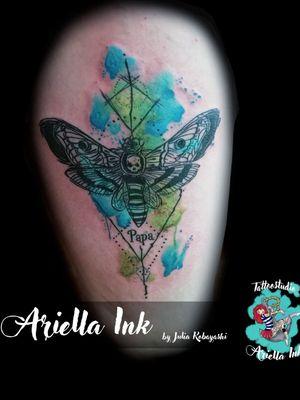 Watercolor death moth #tattoo #tattoos #design #watercolor #aquarell #deathmoth #freshlyinked #freshink #watercolortattoo #aquarelltattoo #watercolormoth #eternalink