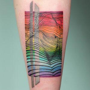 Rainbow tattoo by color by Aleksandra Stojanoska and linework by Nester Formentera #AleksandraStojanoska #NesterFormentera #rainbowtattoo #queertattoo #LGBTQIA #LGBT #queer #gay #pride #pridemonth #tattooidea #meaningfultattoo