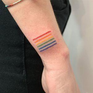 Rainbow tattoo by Martyna Jankowiak #MartynaJankowiak #rainbowtattoo #queertattoo #LGBTQIA #LGBT #queer #gay #pride #pridemonth #tattooidea #meaningfultattoo