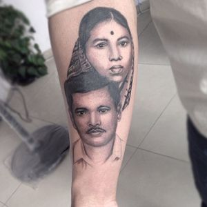 Mom dad portrait tattoo