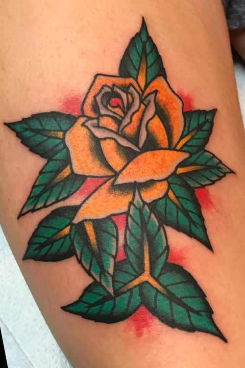 Chuckdtats@gmail.com for booking info. #rose #rosetattoo #RoseTattoos #traditionaltattoo #traditional