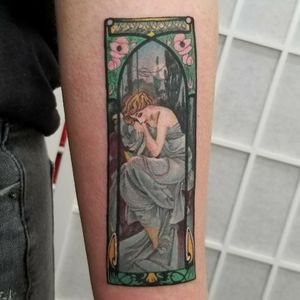 tattoo i did of the painting Repos de la nuit (aka Night's Rest). By #AlphonseMucha It's Part of a series of four lithograph posters made in 1899. #fineart #art #artforsale #vintage #oilpainting #canvas #neotraditionaltattoo #tattoos #moderntattoo #finearttattoo #manhattan #nyctattoo #stencilstuff #swissrotary #dankubin #inkedgirls #tattoomodel