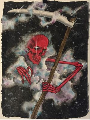 Reaper print by Justin Weatherholtz #JustinWeatherholtz #SanDiegoTattooInvitational #BillCanales #SanDiego #tattooconvention #tattooevent #California #reaper #print #flash #galaxy