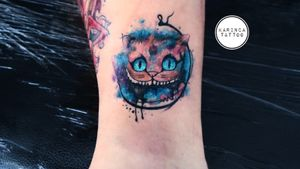 Cheshire Cat Instagram: @karincatattoo #cheshire #cat #watercolor #color #leg #colorful #AliceinWonderlandtattoo #cheshirecattattoo #tattoo #tattoos #tattoodesign #tattooartist #tattooer #tattoostudio #tattoolove #ink #tattooed #dövme #istanbul #turkey #dövmeci #kadıköy #moda #design #watercolortattoos