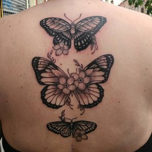 Black and grey Butterfly floral back piece.