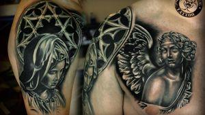 #tattooist #tattooed #inked #ink #tattoo #tattoos #tatted #inkeeze #bodyart #tattedup #inkedup #tats #tattootuesday #tattooartist #bodymods #bodymod #tattooing #newtattoo #beautifulink #girlswithink #girlswithtattoos #chickswithink #chickswithtattoos #womenwithtattoos #womenwithink #tattooedgirls #purpleglide #angeltattoo #religioustattoo