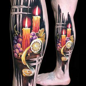 Still life lemon candles and grapes