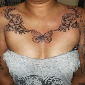Minimalist flowers and butterfly chest piece #minimalist #floral #tattoo #minimalism #peony #flowers #butterfly #tattoos #gettattooed #allday #everyday #tattoolife #chestpiece #chesttattoo #inked #inklife #thatlife #inkedupwoman #ink #black #artist #kentwashington #tattooshop #womanwithtattoos #hotink #tattoooftheday #tattooideas