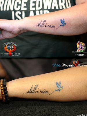 Fresh/Healed Tattoo Design Still i rise..Birds Colour Tattoo #qoutes #tattooart #birdtattoo #colourtattoo #stillirise #qoutationtattoo #chandigarh #BestArtists #hygeine #art #inked #inkedgirl #India #lineworktattoo #tattooapprentice #ink #qualitytattoo #healedtattoo