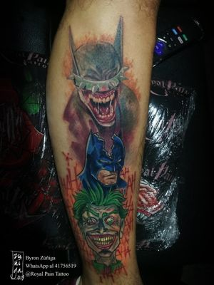 #byronzuñiga #royalpaintattoo #guatemala #tattoo #fullcolortattoo #comictattoo #batmantattoo #thejoker #batmanquerie