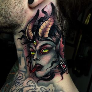 Demon lady on the side of the neck