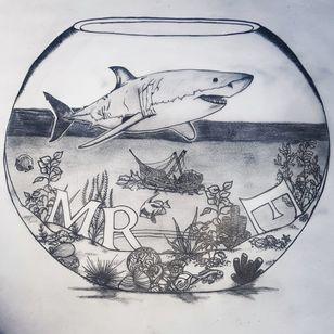 New tattoo design! #greatwhitesharkheadtattoo #sunkenshiptattoo #Aquarium #BTS🇧🇪