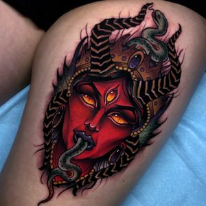 Demon lady on the thigh