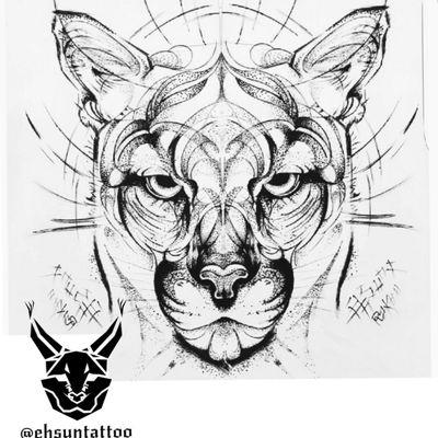 طراحی وایده از خودم #myart#artwork#puma#wildcat#cat#bigcat#sketch#drawing by #ehsunx#artist#tattooartist #pumatattoo#mountainlion