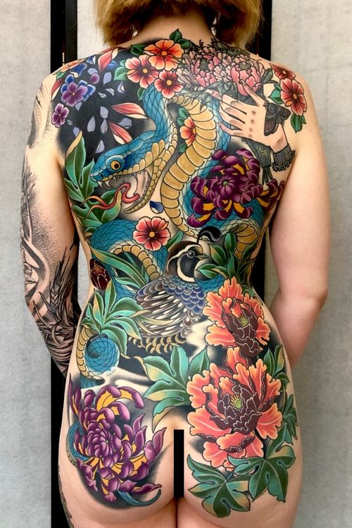 #backpiece #peony #chrysanthemum #snake #quail #nature #garden #color #back #japanese #darcynutt #chalicetattoo