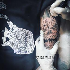Altar of Madness Tribute/ Horror Tattoo in progress