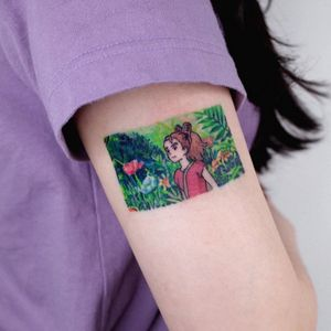 Anime tattoo by Soosoo #Soosoo #animetattoo #anime #manga #animation #cartoon #newschool #illustrative #Japanese #Japaneseinspired #arietty #studioghibli #watercolor #movie #arm