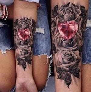 #rosejeweltattoo #pinkjewel #jewelhearttattoo #jeweltattoo #roses #forearmtattoo #ladytattoo #heartonyoursleevetattoo #detailedtattoo #beautifultattoo