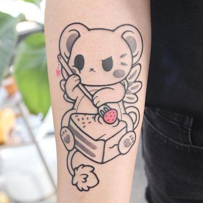 Anime tattoo by Hugocide #Hugocide #animetattoo #anime #manga #animation #cartoon #newschool #illustrative #Japanese #Japaneseinspired #cake #strawberry #cardcaptorsakura #arm
