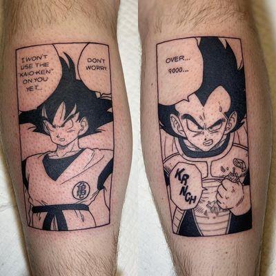 Anime tattoo by Kimberly Wall #KimberlyWall #animetattoo #anime #manga #animation #cartoon #newschool #illustrative #Japanese #Japaneseinspired #dragonballz #comicbook #illustrative #lettering #leg