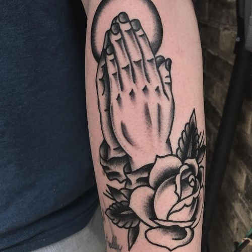 Clapper tattoo by Derekcantdance #derekcantdance #blackwork #rose #traditional #arm #clappertattoo #clappers #prayer #hands #religious #jesus #mary #iconic