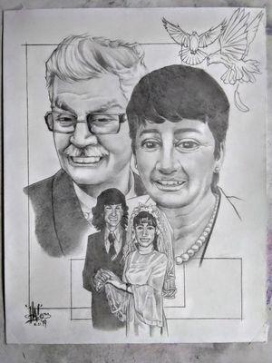 Anniversary portrait gift commissioned by client...#portrait #portraitartist #pencils #pencildrawing #pencilart #commissionwork #byjncustoms
