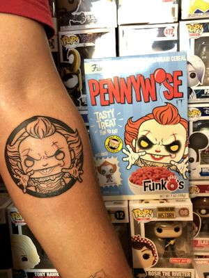 Got the chance to tattoo a Funko Pop Pennywise design last night (7/1/2019). Lines as a first session and in two weeks will be last session of full coloring. This was too much fun! PLEASE more like this! Feel free to ask questions on bookings. Follow my Instagram for stories and more @gmmtattoons