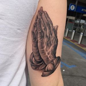 Clapper tattoo by BJ Betts #BJBetts #blackandgrey #realism #oldschool #illustrative #clappertattoo #clappers #prayer #hands #religious #jesus #mary #iconic