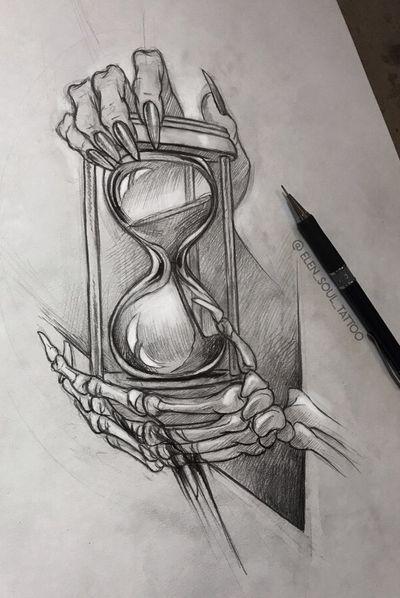 #desthclock #death #clock #design #tattoodesign #skelet #life #time #elensoul