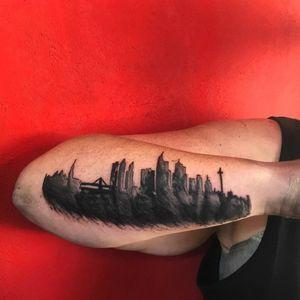 Watercolor Abstract Frankfurt Skyline Tattoo #skylinetattoo