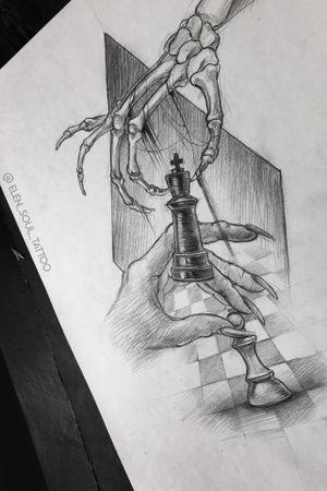 #design #tattoodesign #death #deathandlife #chess #elensoul