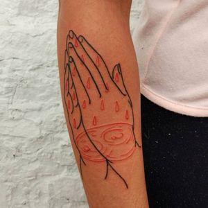 Clapper tattoo by Lee aka rat666tat #rat666tat #illustrative #redink #blood #tears #rain #clappertattoo #clappers #prayer #hands #religious #jesus #mary #iconic