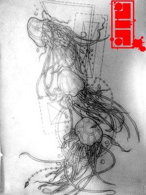 Jellyfish concept rendering for right leg...#conceptual #designer #stencil #template #jellyfish #jellyfishtattoo #byjncustoms