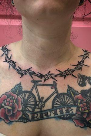 Barbed wire neck decor