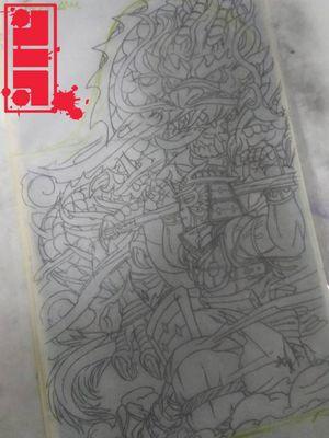 Monkeyking samurai w/dragon fullsleeve stencil build...#MonkeyKing #AsianTattoo #asianart #dragon #dragontattoos #futuristic #neo #illustrative #graphic #style #byjncustoms