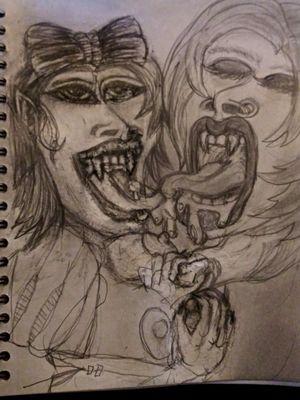#Erotic #vampire #lesbian #boobs #fetish #illustration #blackandgrey