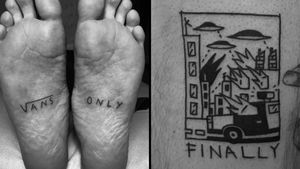 Ignorant style tattoo on the left by Sean from Texas and ignorant style tattoo on the right by Alvar Mena #SeanFromTexas #AlvarMena #ignorantstyletattoos #ignorantstyle #ignorant #illustrative #drawing #sketch #funny #blackwork
