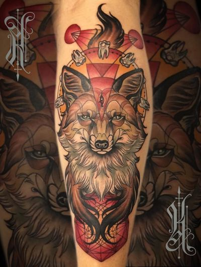 Neotraditional tattoo by Kat Abdy #KatAbdy #neotraditional #fineart #Artnouveau #detailed #painterly #portraits #lady #magic #esoteric #fox #animal #arm