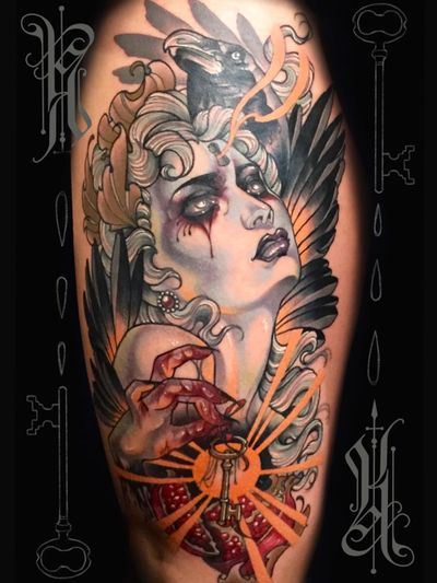 Neotraditional tattoo by Kat Abdy #KatAbdy #neotraditional #fineart #Artnouveau #detailed #painterly #portraits #lady #magic #esoteric #key #feathers #pomegranate #crow #leg