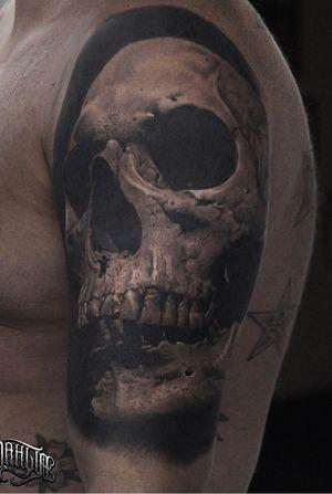 #skull #horror #tattoos #tattooed #tattoo #tattooink #tattooink #tattooist #tattooismylife #tattooart #tattooartist #tattooshop #inklife #ink #inked #inkedup #blackandgrey #black #realism #relistictattoo #realism #cheyenneprofessionaltattooequipment #cheyenne #instagramsrbija #inkstagram